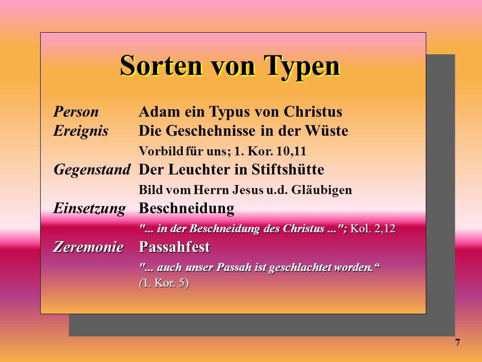 Sorten von Typen Person Adam ein Typus von Christus