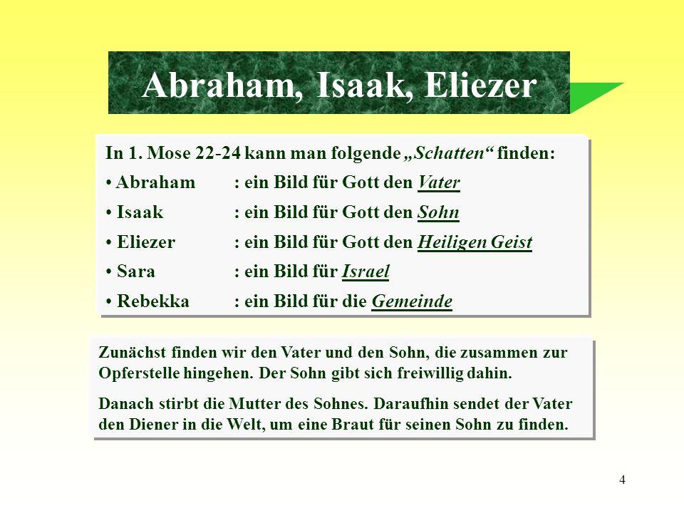 """Abraham, Isaak, EliezerIn 1. Mose 22-24 kann man folgende """"Schatten finden: Abraham : ein Bild für Gott den Vater."""