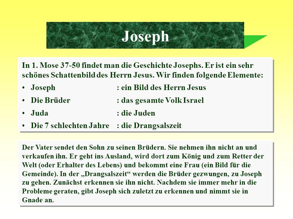 JosephIn 1. Mose 37-50 findet man die Geschichte Josephs. Er ist ein sehr schönes Schattenbild des Herrn Jesus. Wir finden folgende Elemente: