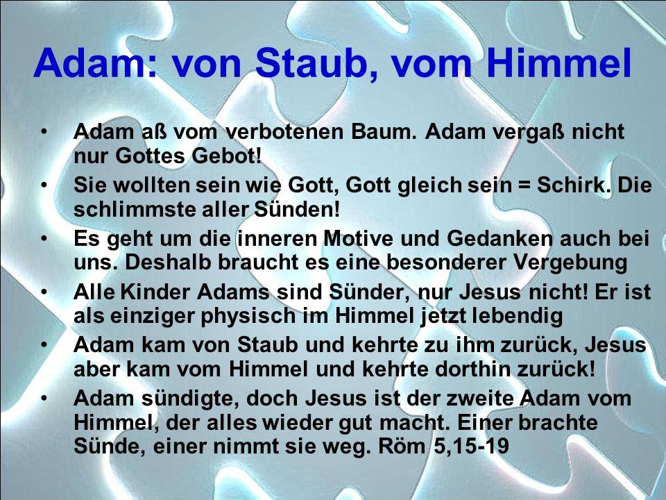 Adam: von Staub, vom Himmel