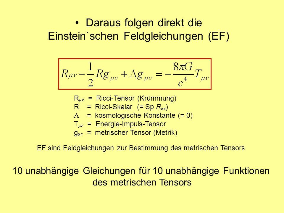 Daraus folgen direkt die Einstein`schen Feldgleichungen (EF)