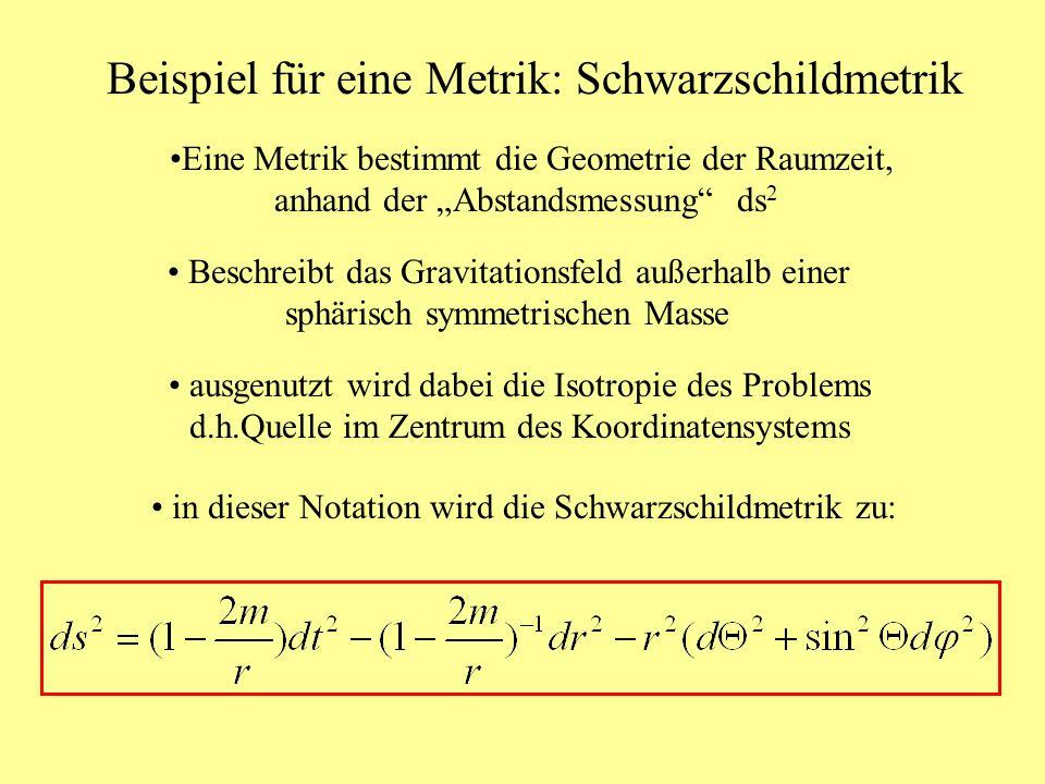 Beispiel für eine Metrik: Schwarzschildmetrik