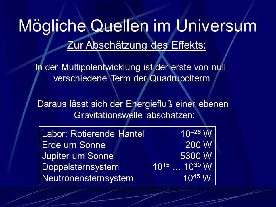 Mögliche Quellen im Universum