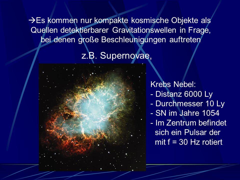 z.B. Supernovae, Es kommen nur kompakte kosmische Objekte als