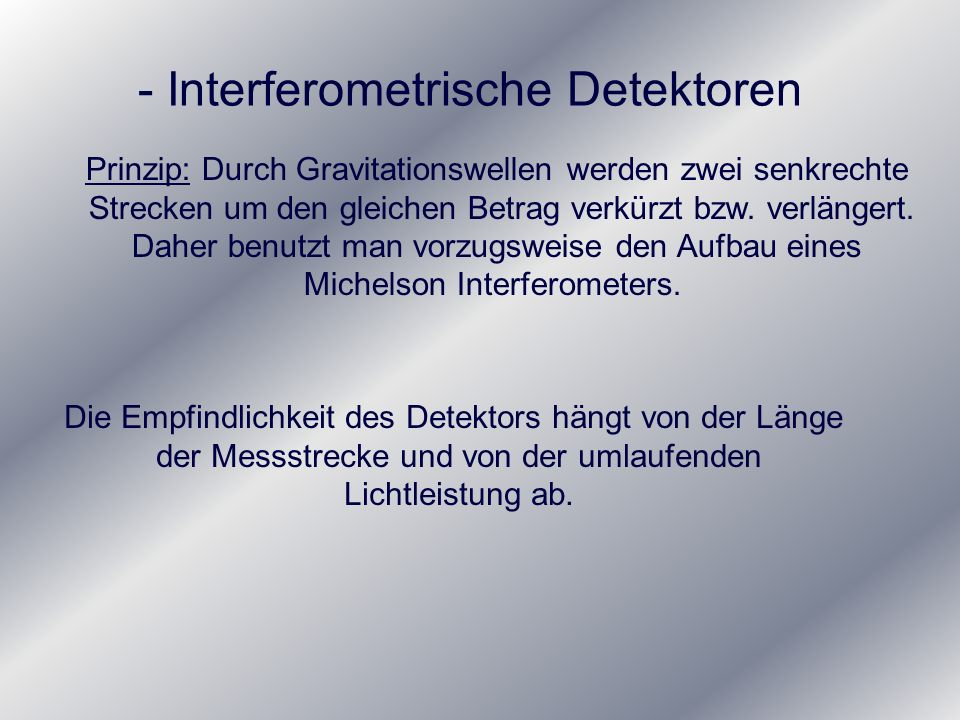 - Interferometrische Detektoren