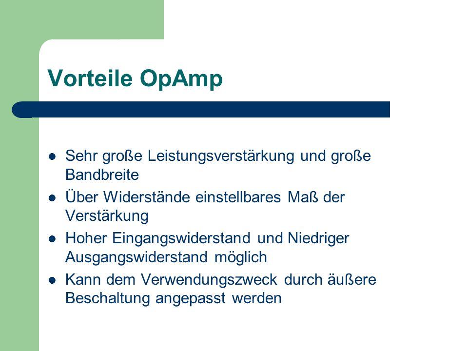 Vorteile OpAmp Sehr große Leistungsverstärkung und große Bandbreite