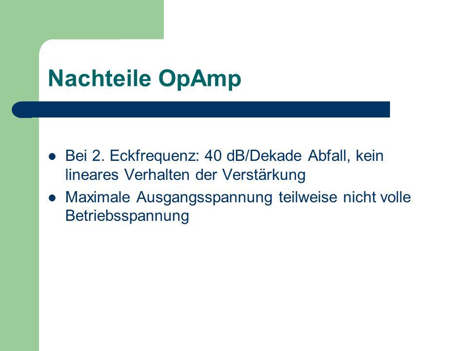 Nachteile OpAmp Bei 2. Eckfrequenz: 40 dB/Dekade Abfall, kein lineares Verhalten der Verstärkung.