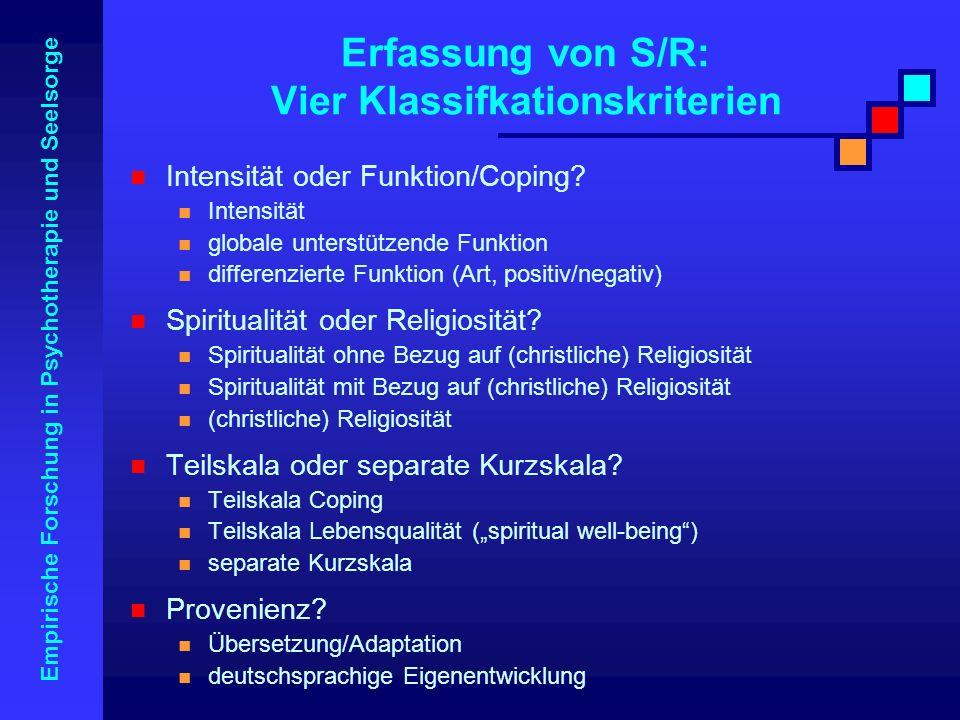 Erfassung von S/R: Vier Klassifkationskriterien