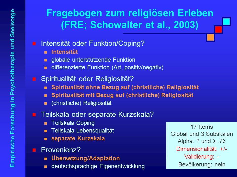 Fragebogen zum religiösen Erleben (FRE; Schowalter et al., 2003)