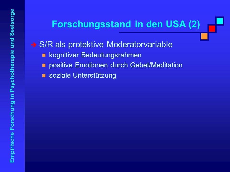 Forschungsstand in den USA (2)