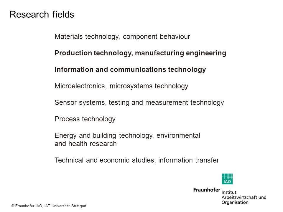 Research fields Materials technology, component behaviour