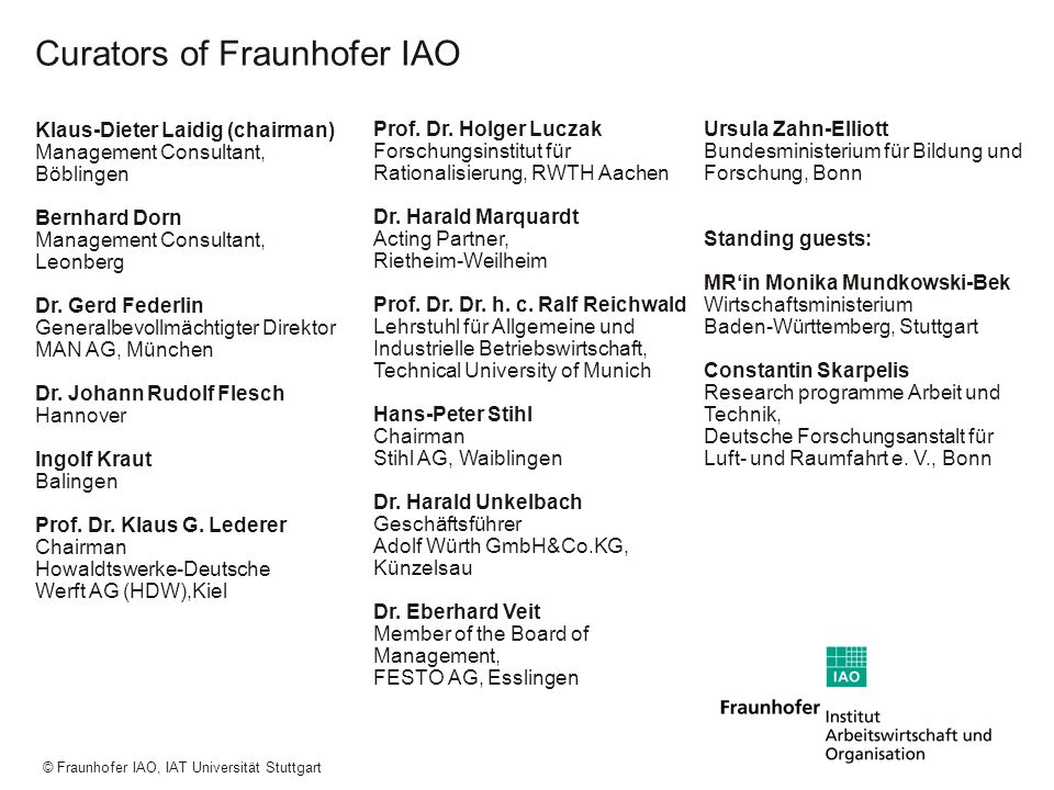 Curators of Fraunhofer IAO