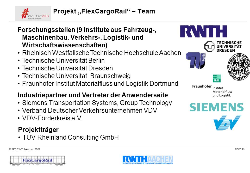 "Projekt ""FlexCargoRail – Team"