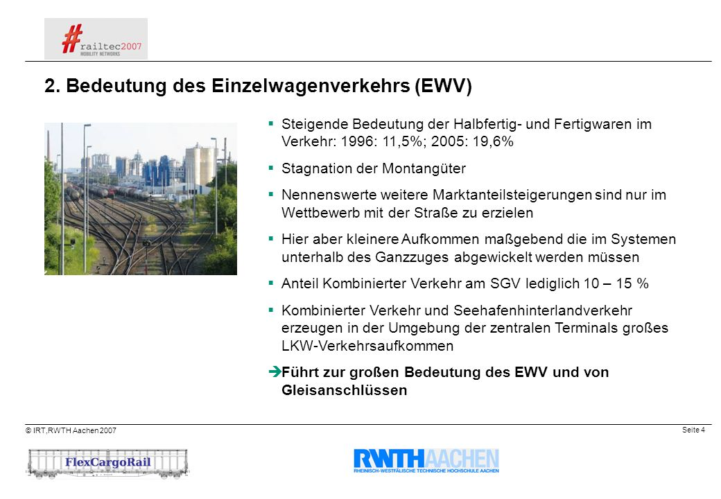 2. Bedeutung des Einzelwagenverkehrs (EWV)