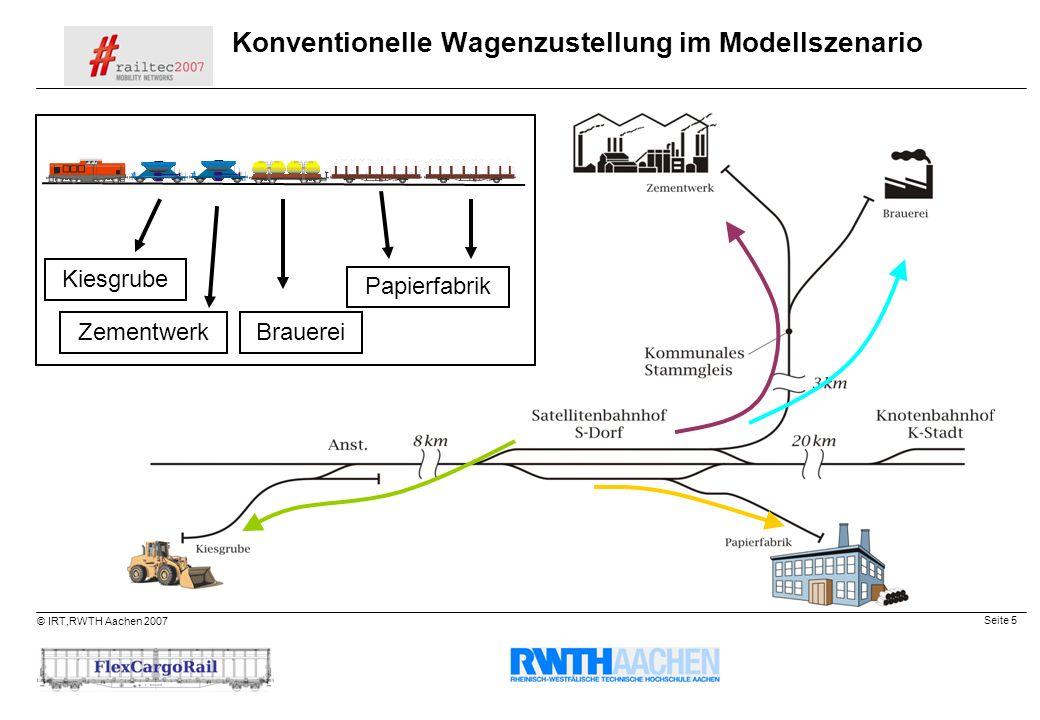 Konventionelle Wagenzustellung im Modellszenario