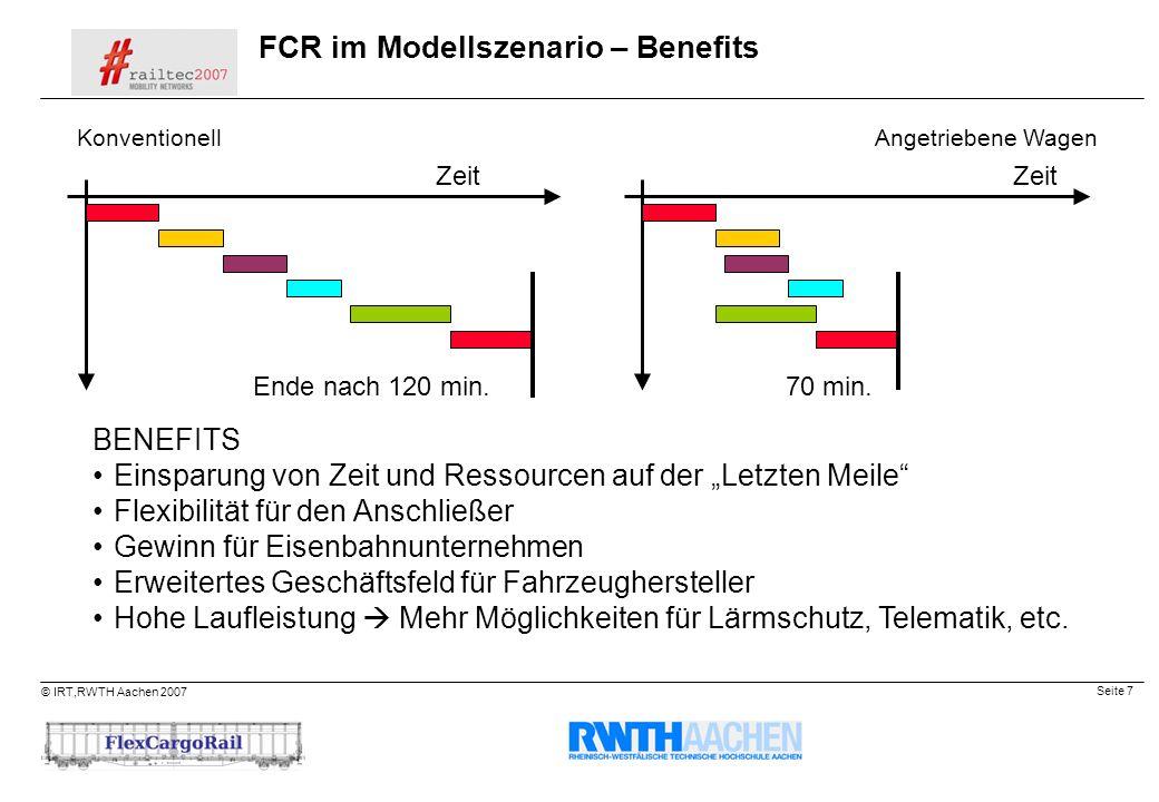 FCR im Modellszenario – Benefits