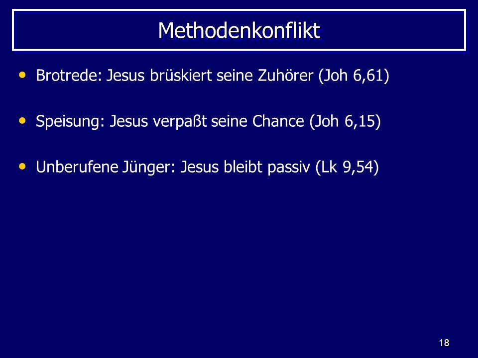 Methodenkonflikt Brotrede: Jesus brüskiert seine Zuhörer (Joh 6,61)