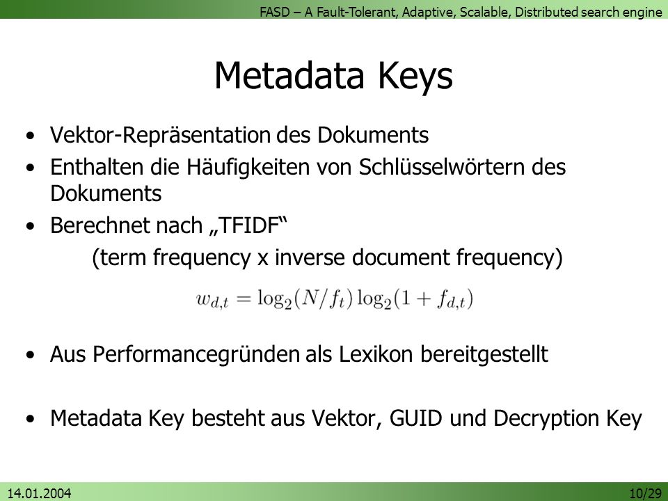 Metadata Keys Vektor-Repräsentation des Dokuments