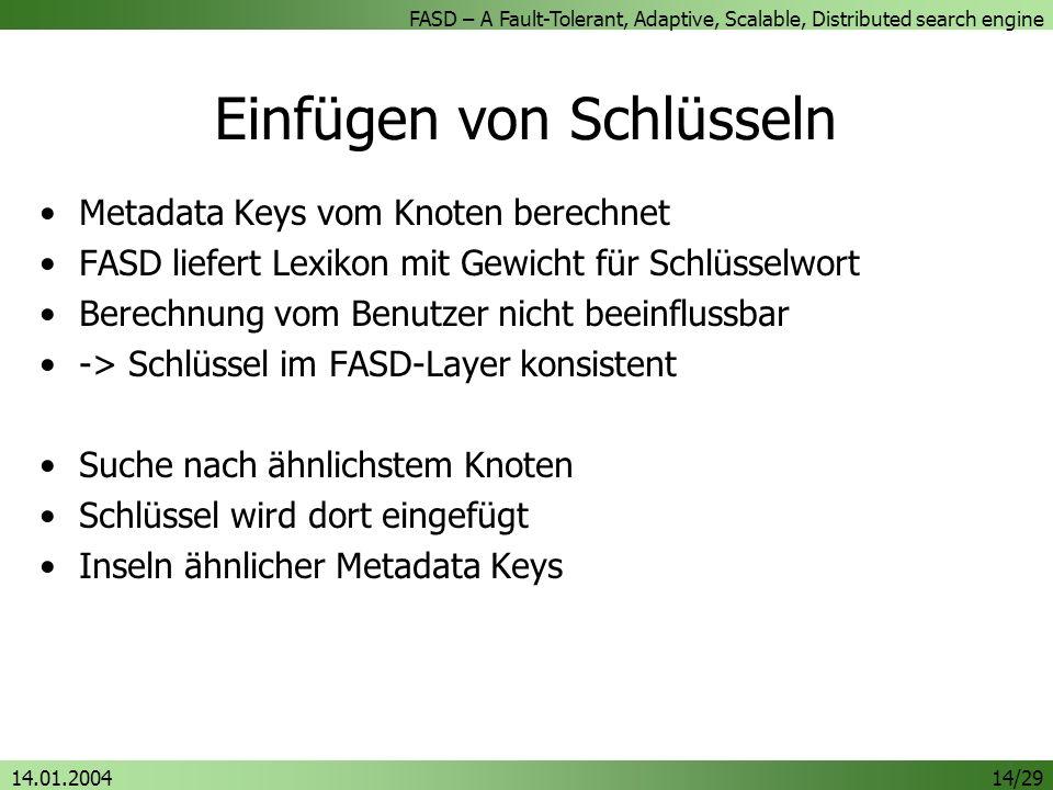 Einfügen von Schlüsseln