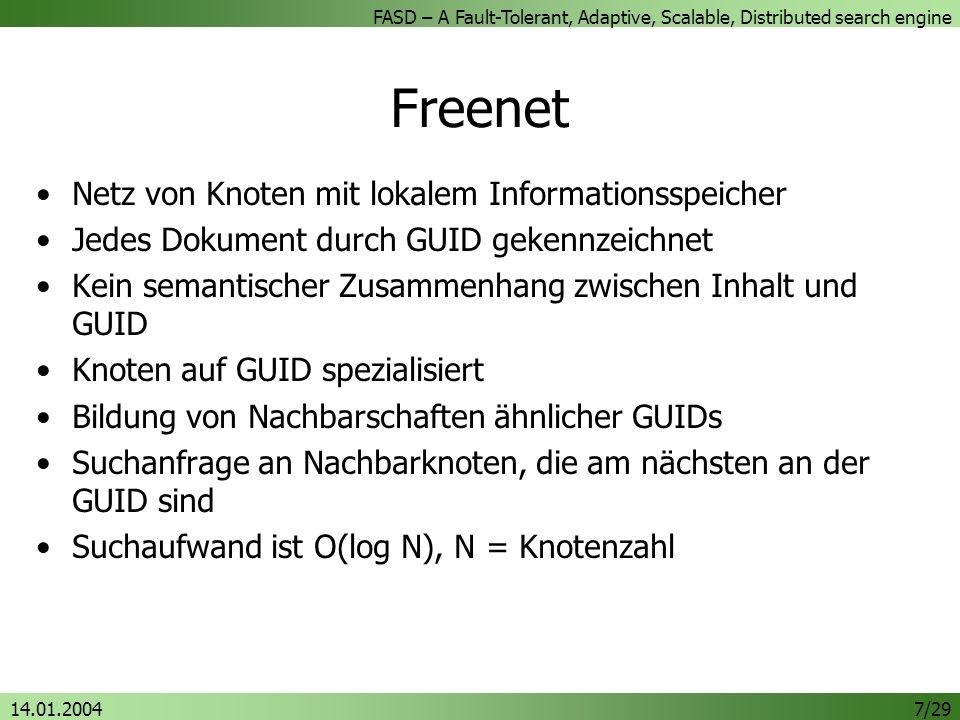 Freenet Netz von Knoten mit lokalem Informationsspeicher