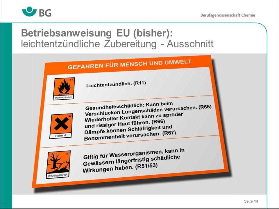 Betriebsanweisung EU (bisher): leichtentzündliche Zubereitung - Ausschnitt