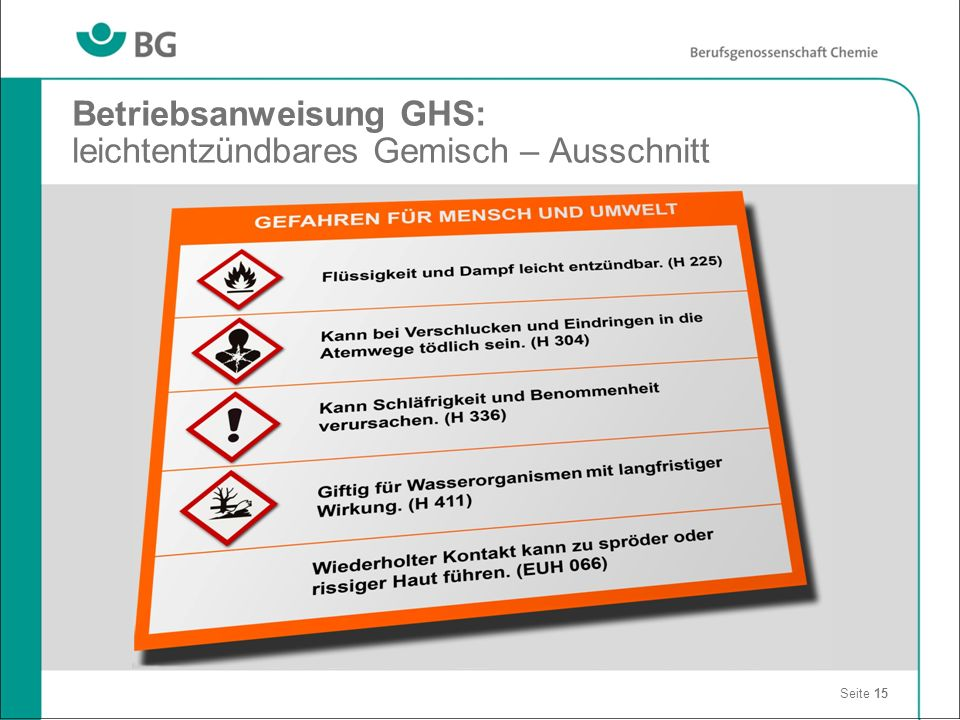 Betriebsanweisung GHS: leichtentzündbares Gemisch – Ausschnitt