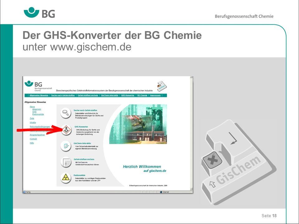 Der GHS-Konverter der BG Chemie unter www.gischem.de