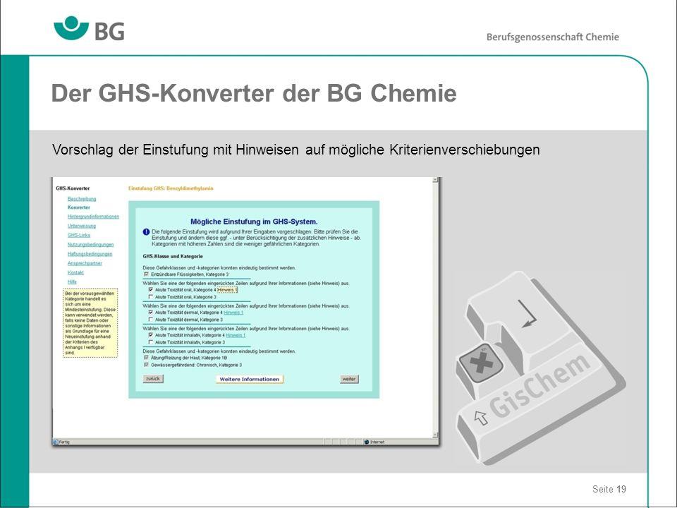 Der GHS-Konverter der BG Chemie