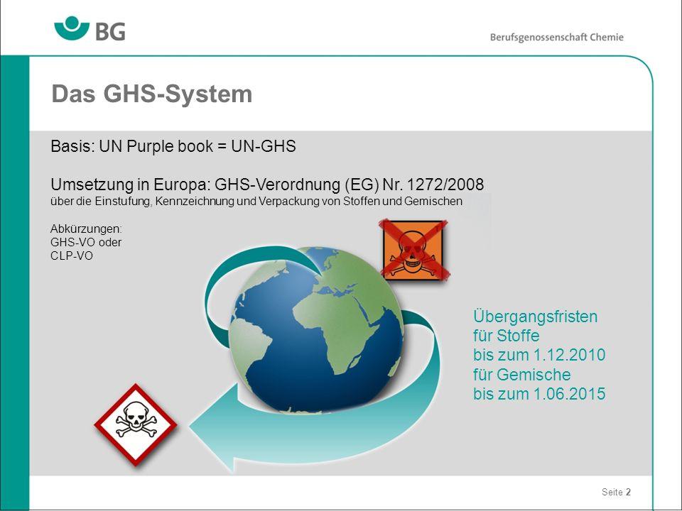 Das GHS-System Basis: UN Purple book = UN-GHS