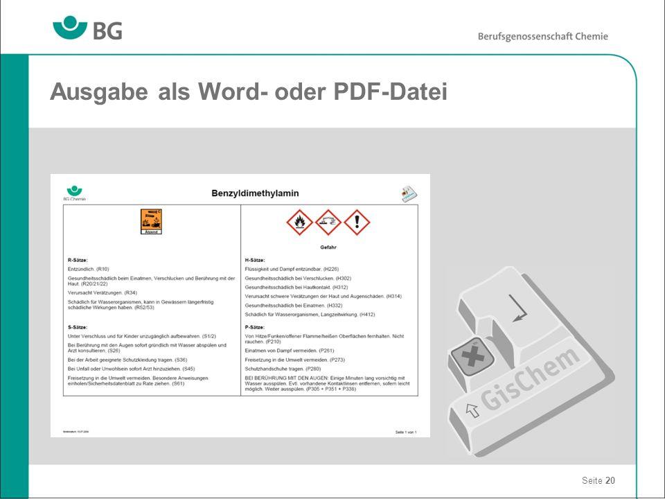 Ausgabe als Word- oder PDF-Datei