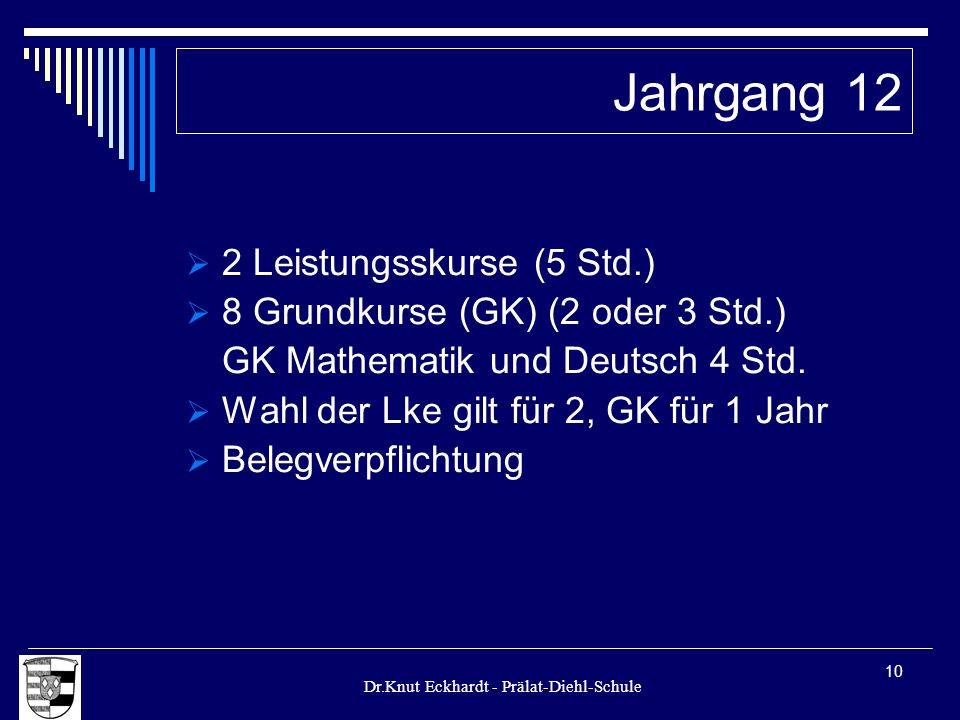 Jahrgang 12 2 Leistungsskurse (5 Std.)