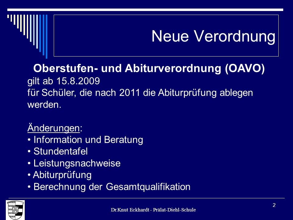 Oberstufen- und Abiturverordnung (OAVO)