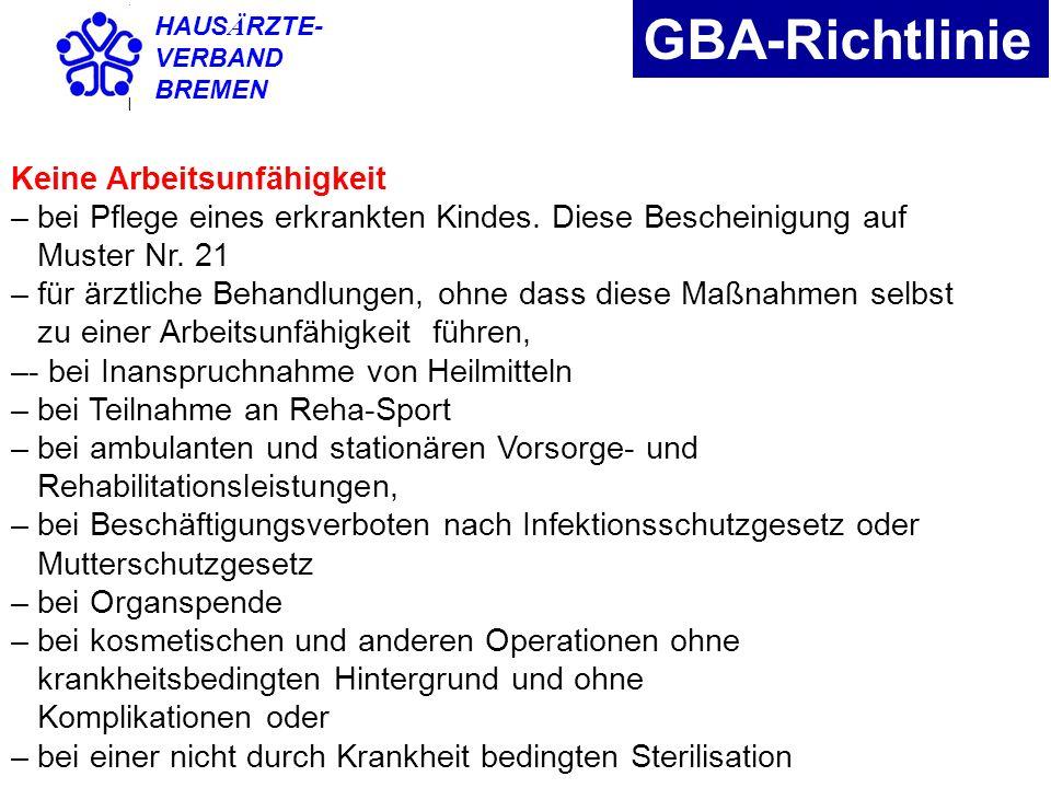 GBA-Richtlinie Keine Arbeitsunfähigkeit