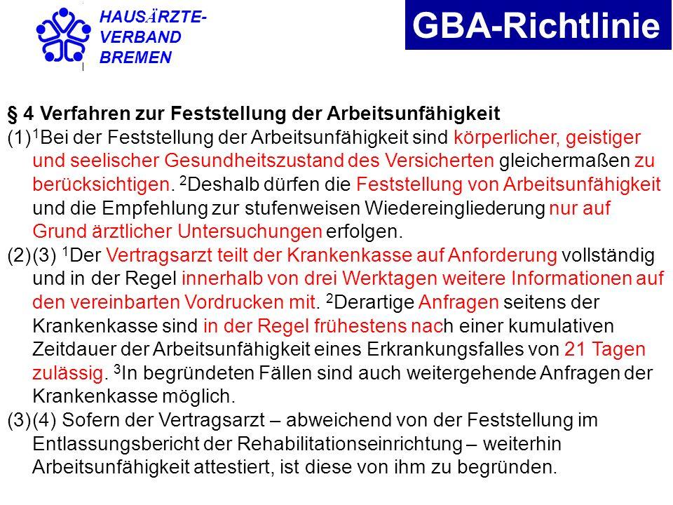 GBA-Richtlinie § 4 Verfahren zur Feststellung der Arbeitsunfähigkeit