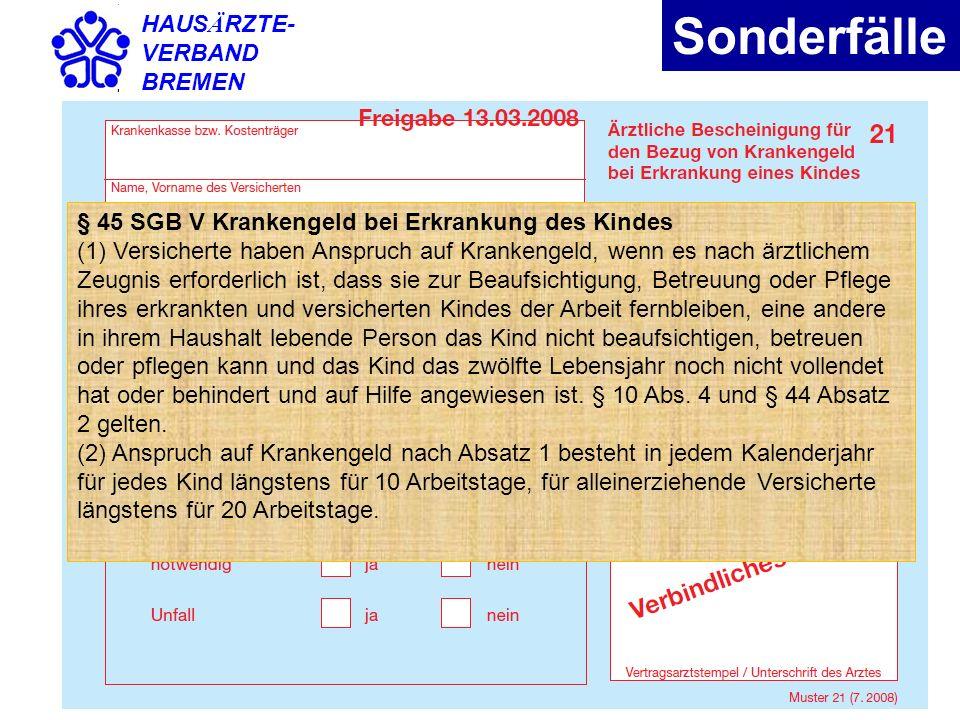 Sonderfälle HAUSÄRZTE- VERBAND BREMEN