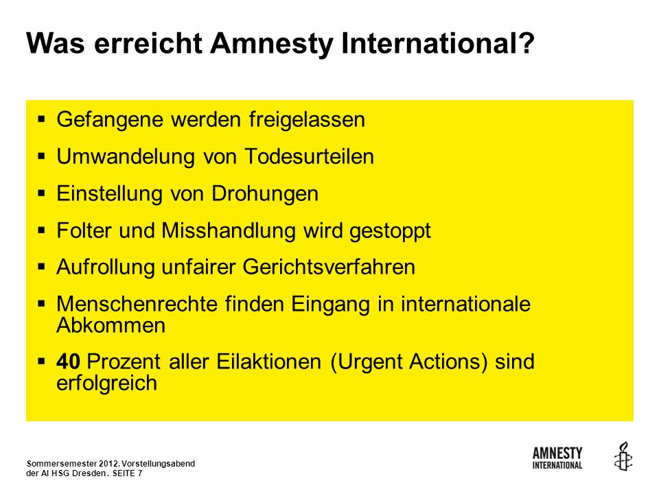 Was erreicht Amnesty International