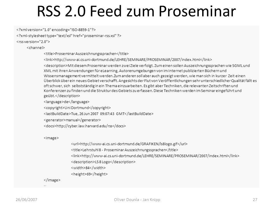 RSS 2.0 Feed zum Proseminar
