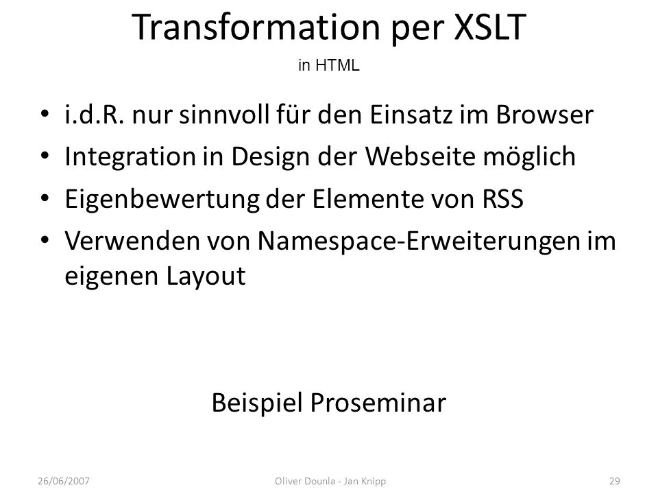 Transformation per XSLT