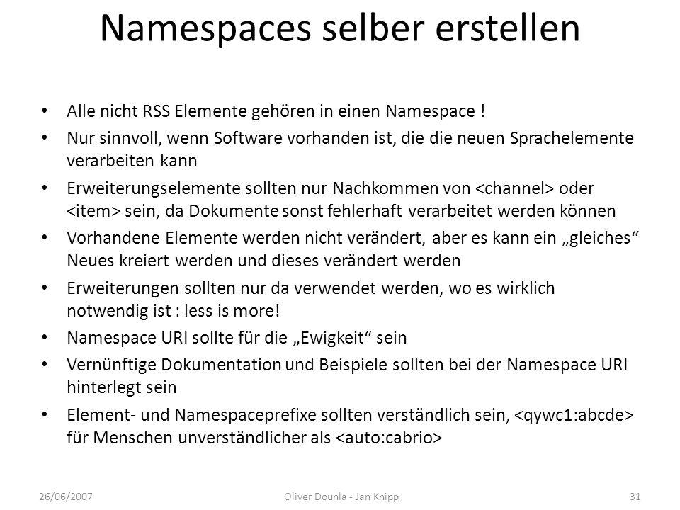Namespaces selber erstellen