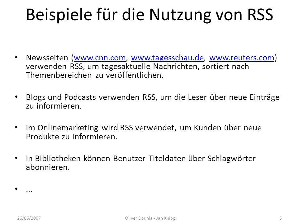 Beispiele für die Nutzung von RSS