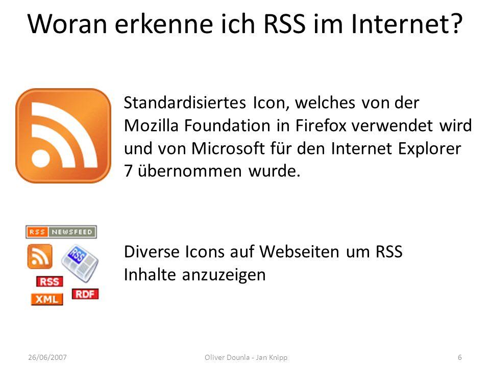 Woran erkenne ich RSS im Internet