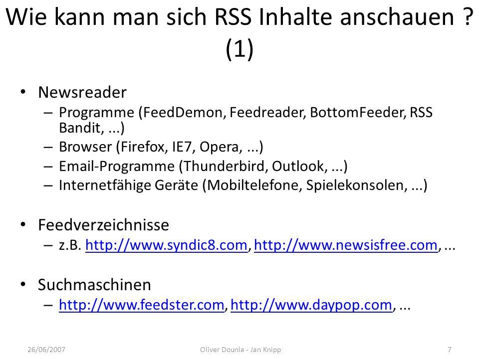 Wie kann man sich RSS Inhalte anschauen (1)