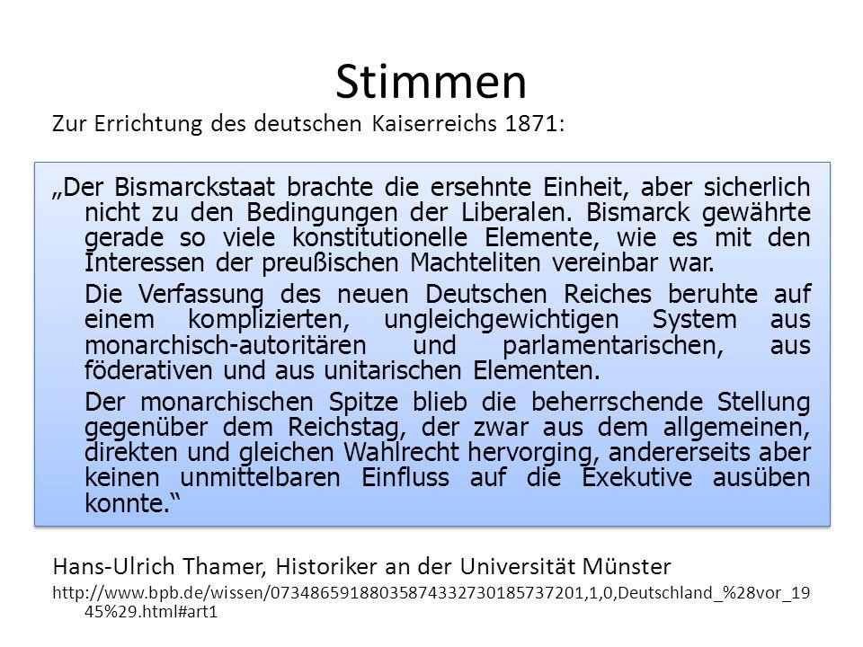 Stimmen Zur Errichtung des deutschen Kaiserreichs 1871: