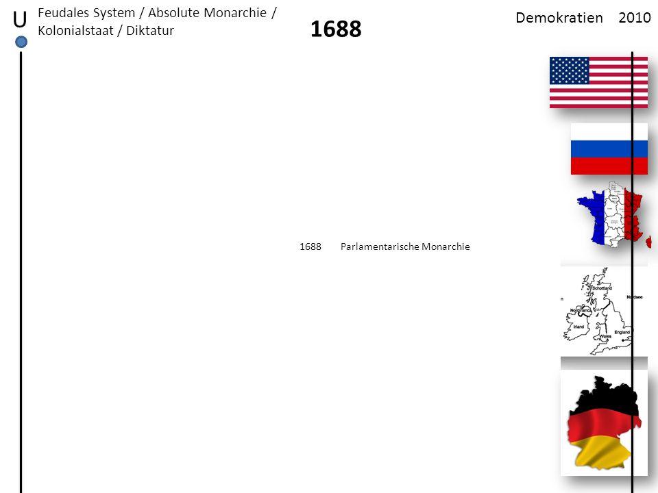 U Feudales System / Absolute Monarchie / Kolonialstaat / Diktatur. Demokratien. 2010. 1688. 1688.
