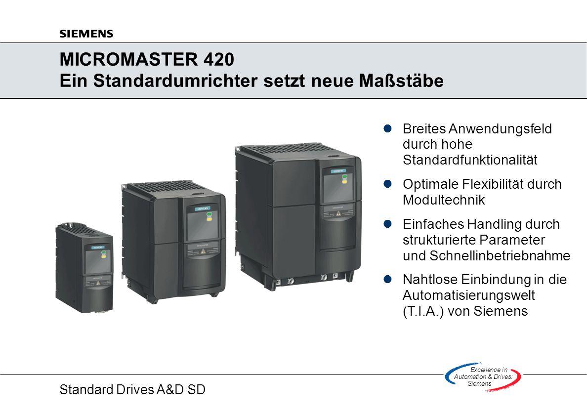MICROMASTER 420 Ein Standardumrichter setzt neue Maßstäbe