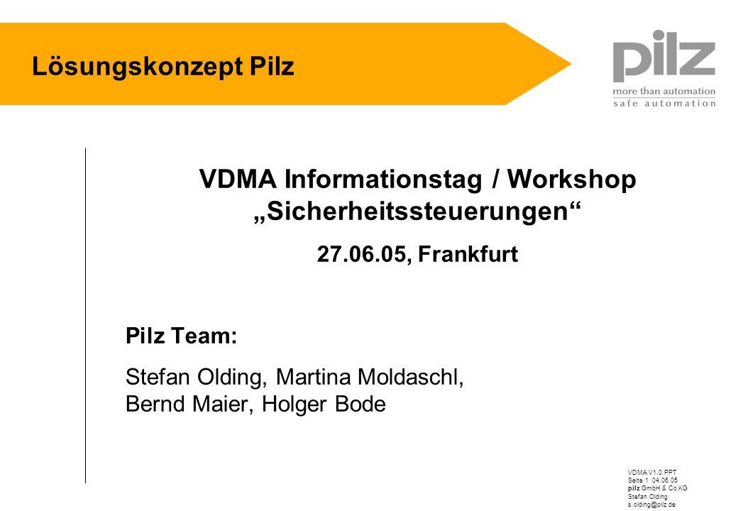 """VDMA Informationstag / Workshop """"Sicherheitssteuerungen"""