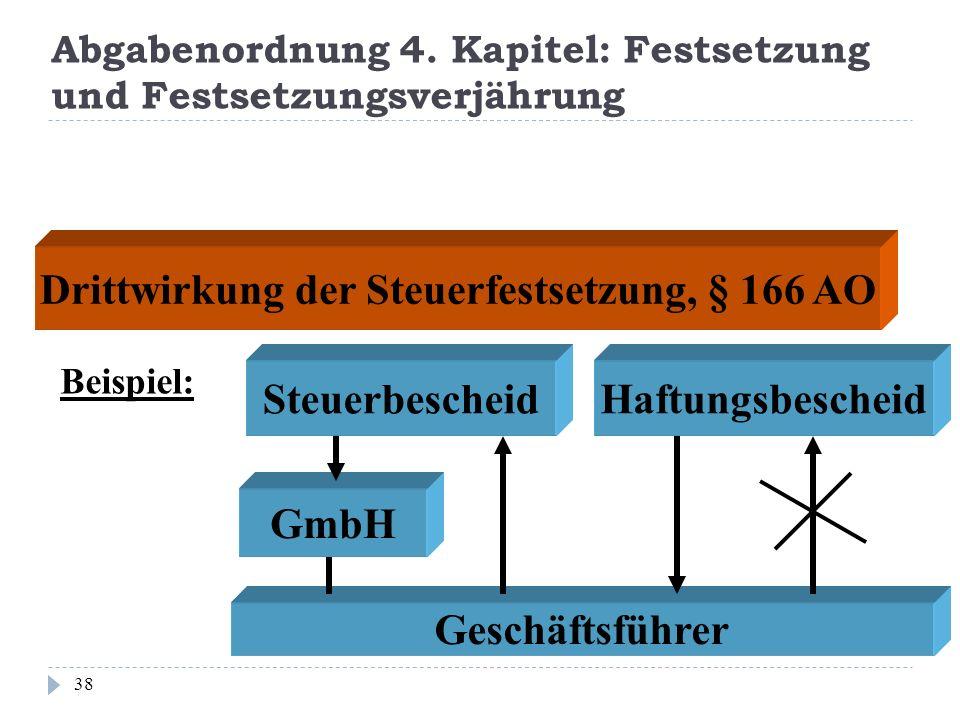 Abgabenordnung 4. Kapitel: Festsetzung und Festsetzungsverjährung