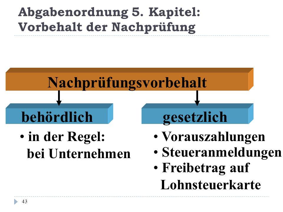 Abgabenordnung 5. Kapitel: Vorbehalt der Nachprüfung