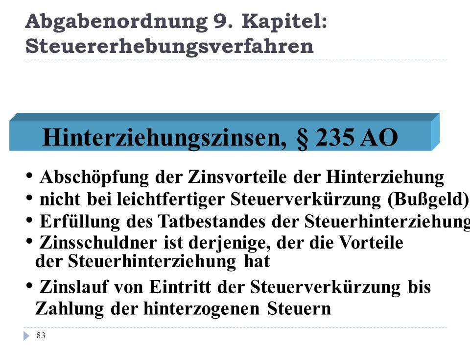 Abgabenordnung 9. Kapitel: Steuererhebungsverfahren