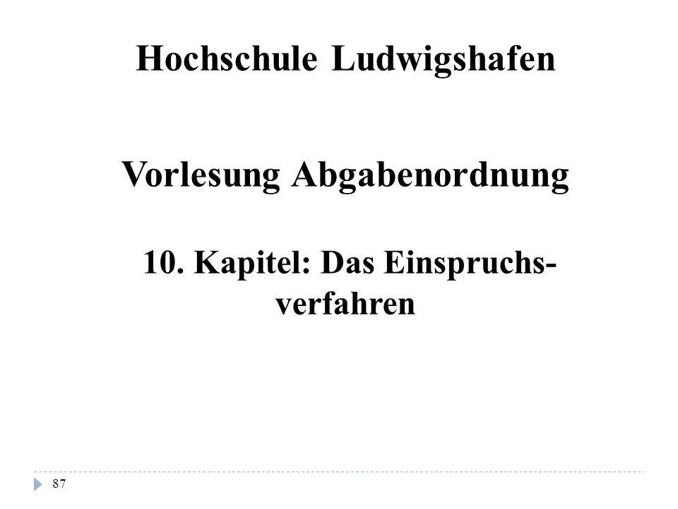 Hochschule Ludwigshafen Vorlesung Abgabenordnung